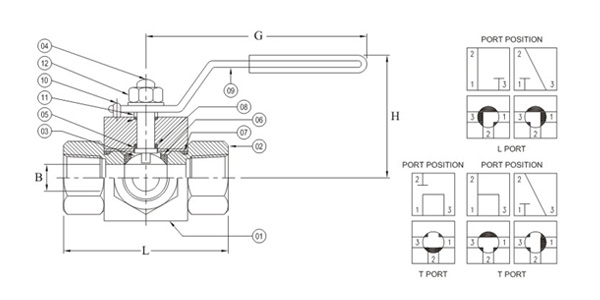 3 Way Ball Valve Side Port Inlet Drawing