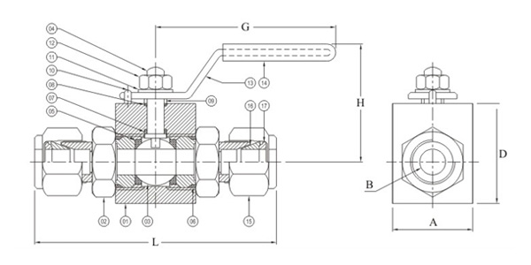 High Pressure Ball Valve Tube End Drawing